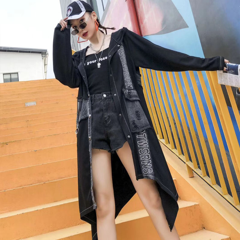 Europe Hooded Trench Coat for Women Autumn New 2019 Denim Splice Irregular Ladies Windbreaker Fashion Women Clothing
