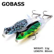GOBASS – leurre de type grenouille pour la pêche en surface, appât artificiel idéal pour la pêche à la manivelle, wobbler Popper, 80mm, 11g, nouveauté, printemps 2021
