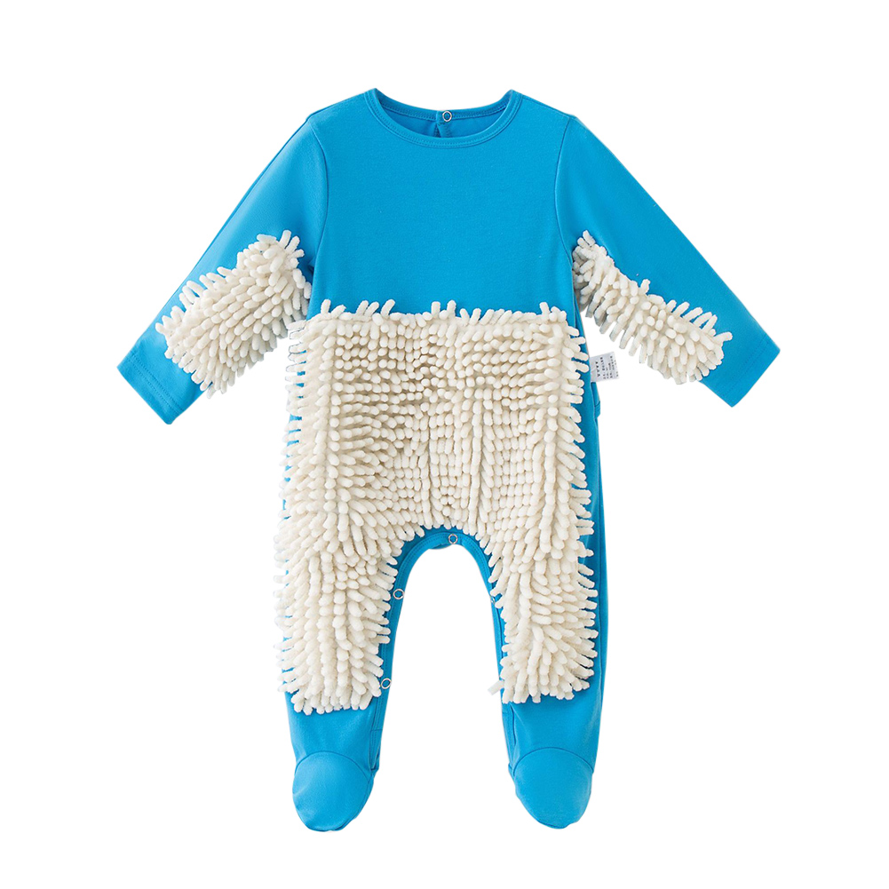 Baby Jumpsuit Romper Crawling Clothes Creative Mop Romper Outfit Floors Cleaning Long-sleeve Jumpsuit Broom Clothes For 0-2 Baby