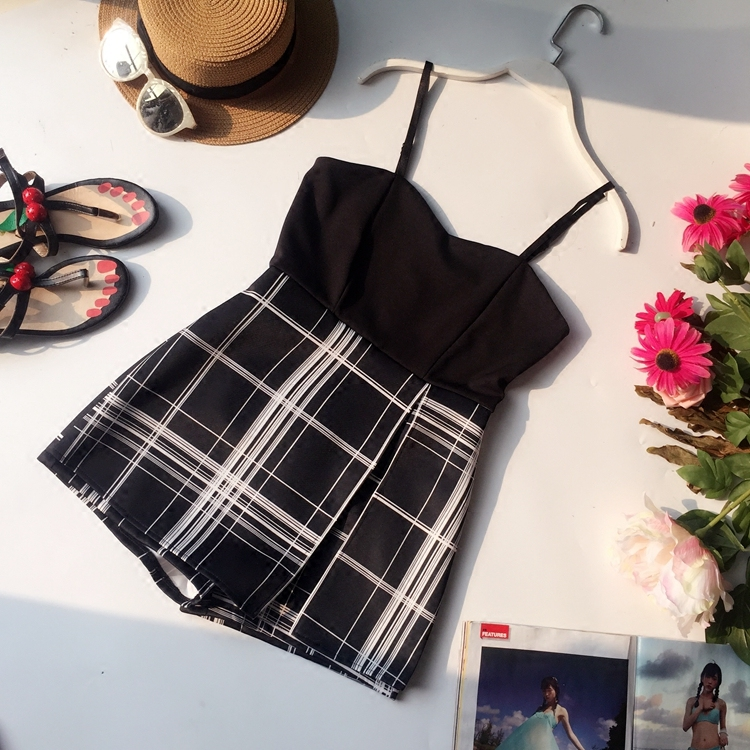 Summer Ladies Strap Plaid Skinny Camisole Jumpsuits Playsuits Loose Shorts Skirt Women Casual Slim Beach Romper Overalls