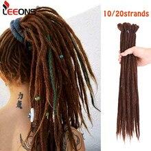 Leeons 10/20 nici Ombre szydełkowe plecionki Handmade dredy z włosów rozszerzenie 53 kolory włosy plecione syntetyczne naturalne włosy
