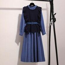 Уличная одежда, платье из двух частей, женское осенне-зимнее длинное платье-рубашка с длинным рукавом, платья с поясом, большие размеры, элегантные вечерние платья vestidos