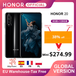 Перейти на Алиэкспресс и купить global version honor 20 cellphone kiri 980 octa core 6.26'' 6gb128gb 48mp four camera supercharge smartphone nfc google play