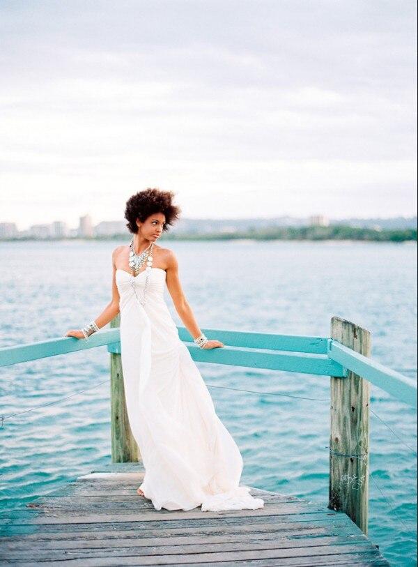 Hot Sexy Sweetheart Vintage White Chiffon Long Beach Cheap Wedding Dress 2016 New Design Vestido De Noiva Brides Gown Button