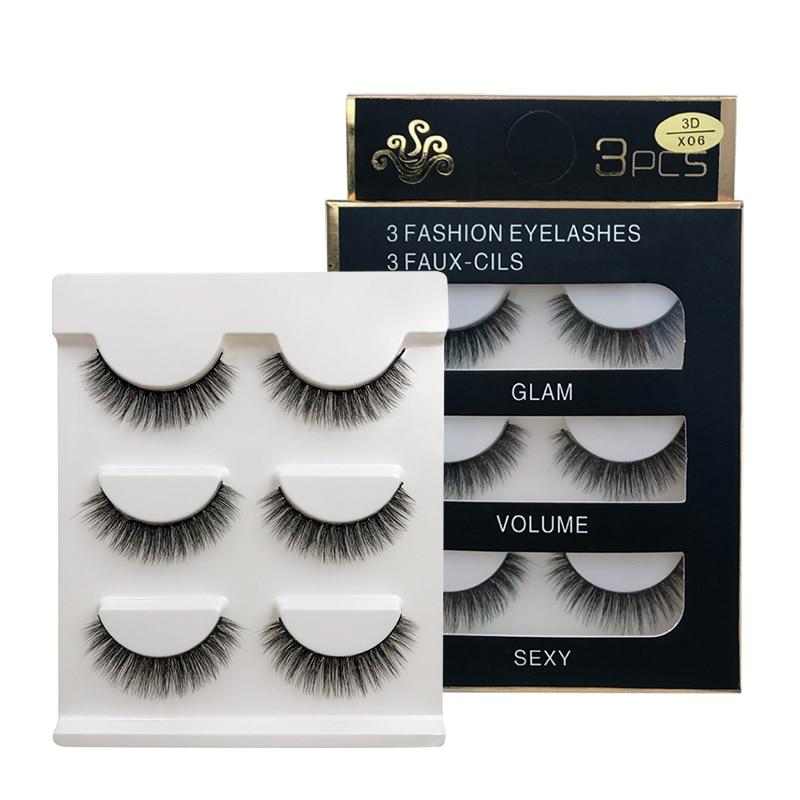 MEISHENJIE 3 Pairs Natural False Eyelashes Thick Make Ups 3d Mink Lashes Soft Eyelash Extension Fake Eyelash Long Mink Eyelashes