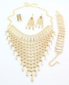 Image 2 - 2020 nowy projekt Dubai złoty kolor moda akcesoria ślubne kostium naszyjnik zestaw biżuteria do strojów afrykańskich zestawy
