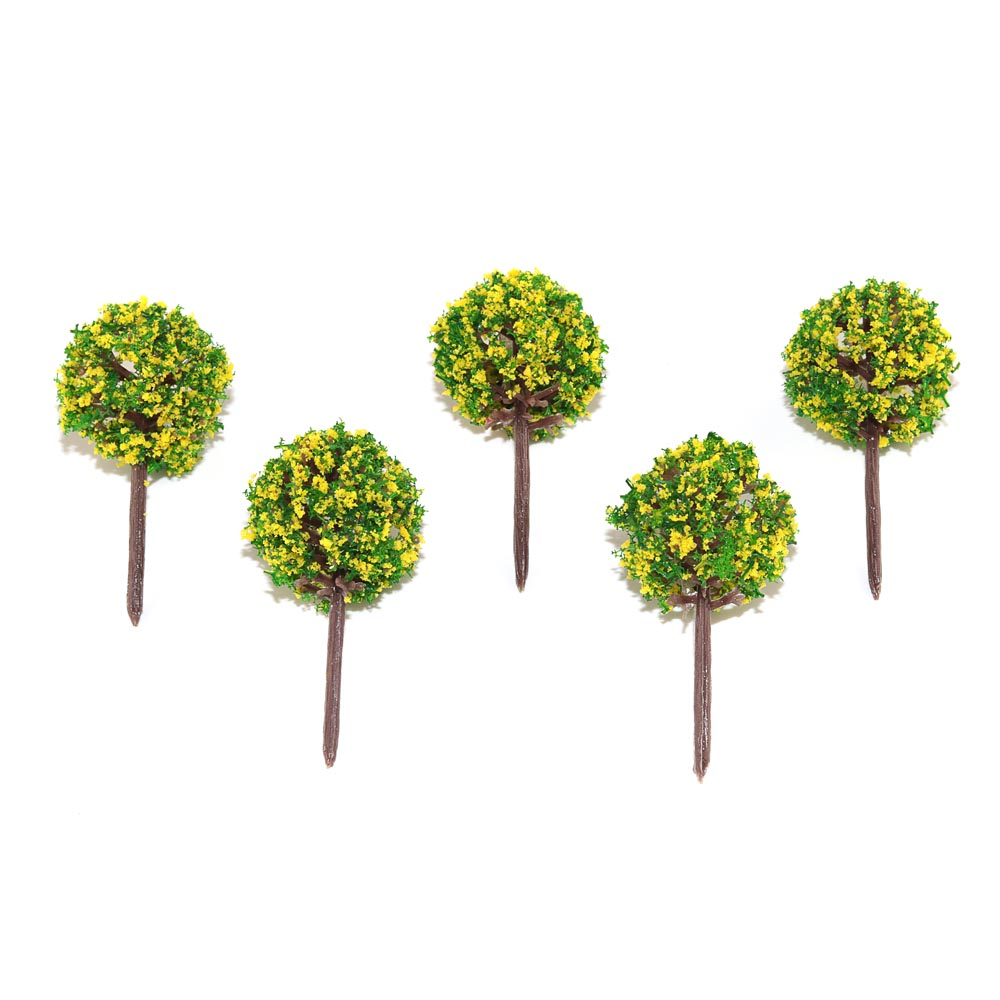 5/20/50pcs 48mm Height Round Yellow Flower Trees Toys Scale Miniature Color Plants For Diorama Architectural Scene Layout Kits