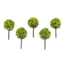 5/20/50pcs 48mm height round yellow flower trees toys scale miniature color plants for diorama architectural scene layout kits 100pcs 1 100 scale model color figures toys miniature architecture painted people for diorama garden street scene layout kits