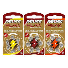 Rayovac peak pilhas auditivas 60 peças, 1.45v a312 312a za312 312 pr41.13a a13 13a 13 p13 bateria pr48.a10 10a 10 pr70