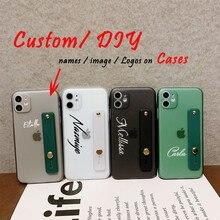 Custom name logo photo on wristband case for iPhone 11 Pro 6S XS Max 7 7Plus 8 8Plus X Sparkle Phone Case Personalized design