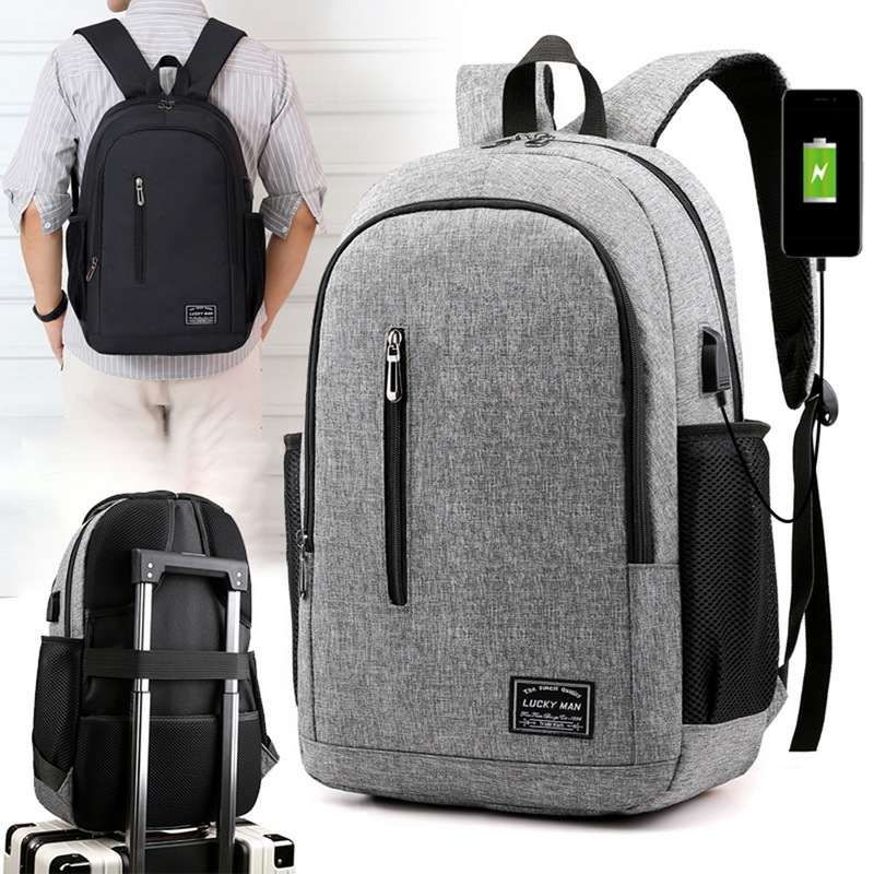 Puimentiua Male Backpack Laptop Notebook Rucksack Travel Backpack Large Capacity Business Schoolbags USB Charge College Bags image