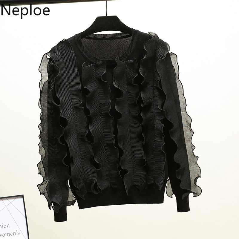 Neploe Knit Pullover Chic-Sweater Ruffles Fashion Jumper O-Neck Long-Sleeve Lace 3D 54430