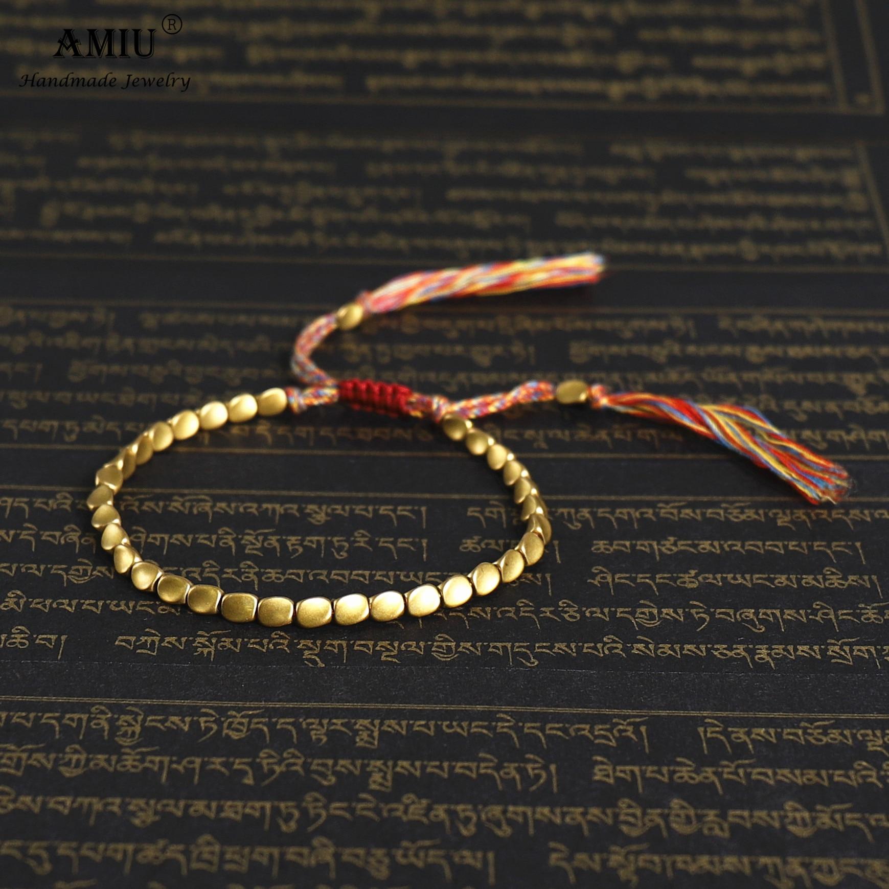 AMIU Handmade Cotton Thread Tibetan Copper Beads Lucky Rope Bracelet & Bangles For Women Men Bracelets