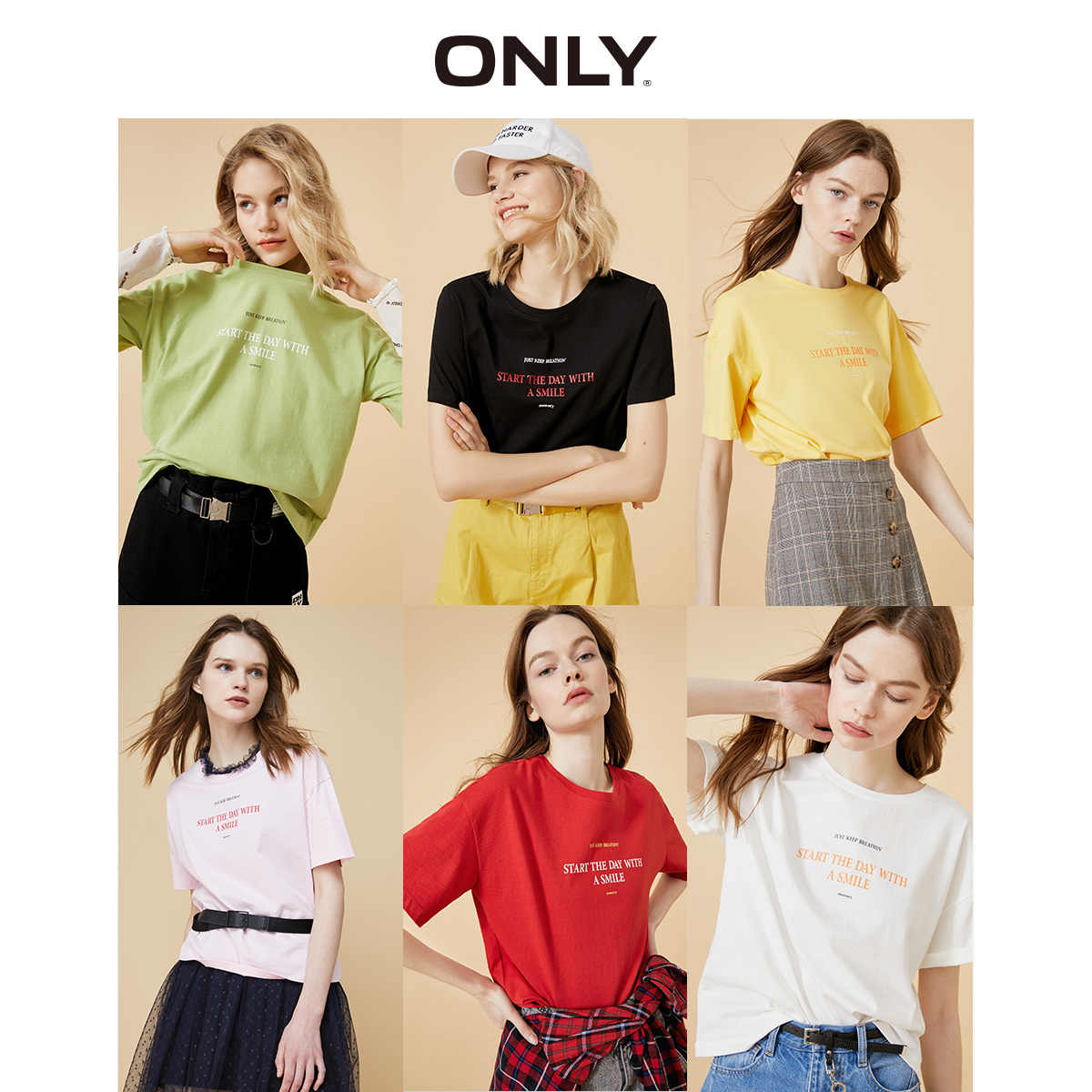 Camiseta de manga curta com estampa única da letra feminina | 120101578
