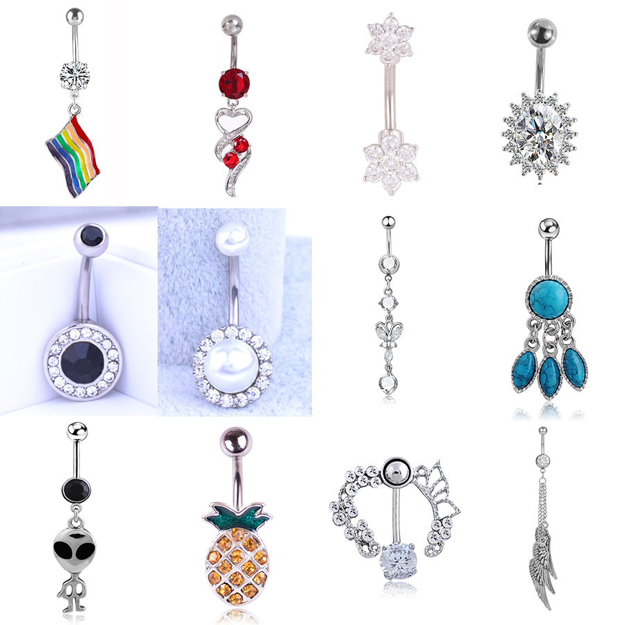 Stainless Steel Heart Belly Button Rings Sexy Body Jewelry Colorful Nature Crystal Zircon Rhinestone Navel Piercing For Women