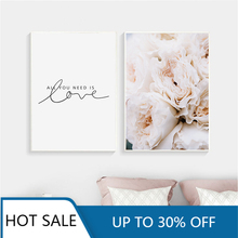 Modern Blush Pink Peonies All You Need is Love Wall Art Canvas Painting Posters and Prints for Aesthetic Home Decoration
