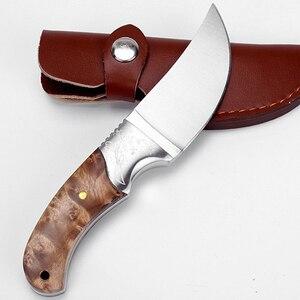 """Image 5 - Couteau de chasse tactique 8 """", manche en bois en 440, couteaux de poche de survie, pour le Camping, couteau droit, pour le sauvetage en plein air, outils EDC"""