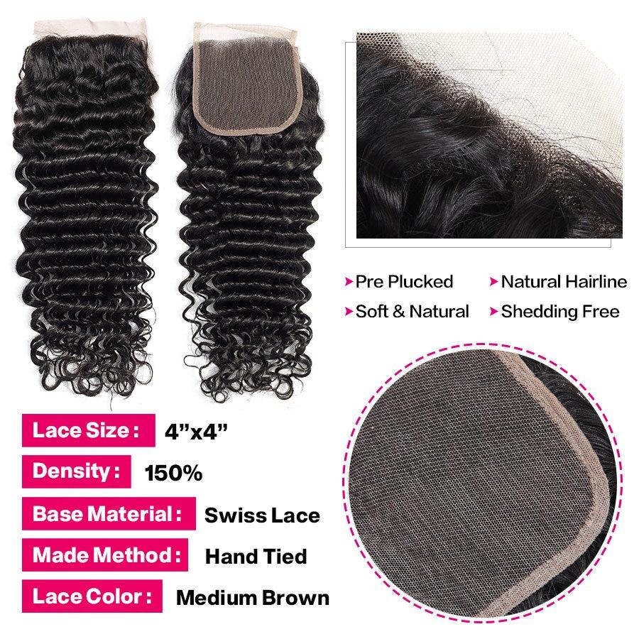 Hf5f79f0f33ec4cf0ba4844799ac40deft Princess Hair Deep Wave Bundles With Closure Double Weft Human Hair Brazilian Hair Weave 3 Bundles With Closure RemyMedium Ratio