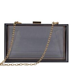 Image 2 - 새로운 투명 아크릴 가방 지우기 클러치 저녁 가방 웨딩 파티 핸드백 체인 여성 숄더 가방 지갑 9 색