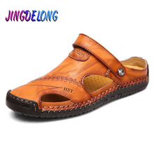 Men's Sandals Slippers Shoes Classic Breathable Beach-Roman Genuine-Leather Summer Soft