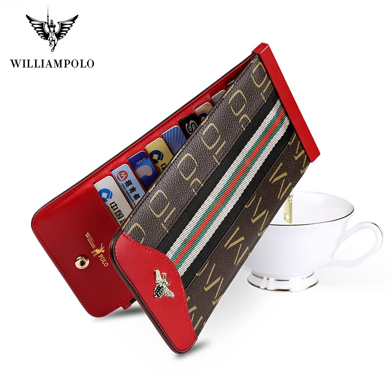 WilliamPolo Women Wallets with Zipper Phone Pocket Purse Card Holder Patchwork Women Long Ultra-thin Lady Wallet Coin Purse