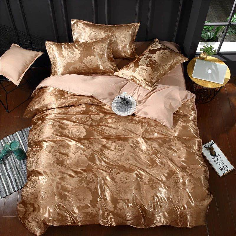 Summer Bedding 4pcs Bedroom Queen Bed Cover Set Polyester Printed Quilt Comfortable Queen Size Quilt Cover Bed Cover Pillowcase 4