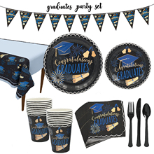Graduation Party Decoration Supplies Disposable Tableware Set Plates Napkins Graduation Souvenirs 12inch Graduates Balloons Gift