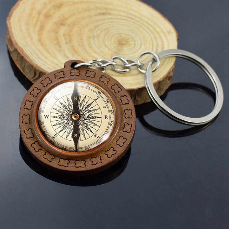 Vintage takı denizcilik pusula ahşap anahtarlık cam Cabochon Mariner's pusula kolye anahtarlık yelkenli tekne anahtarlık