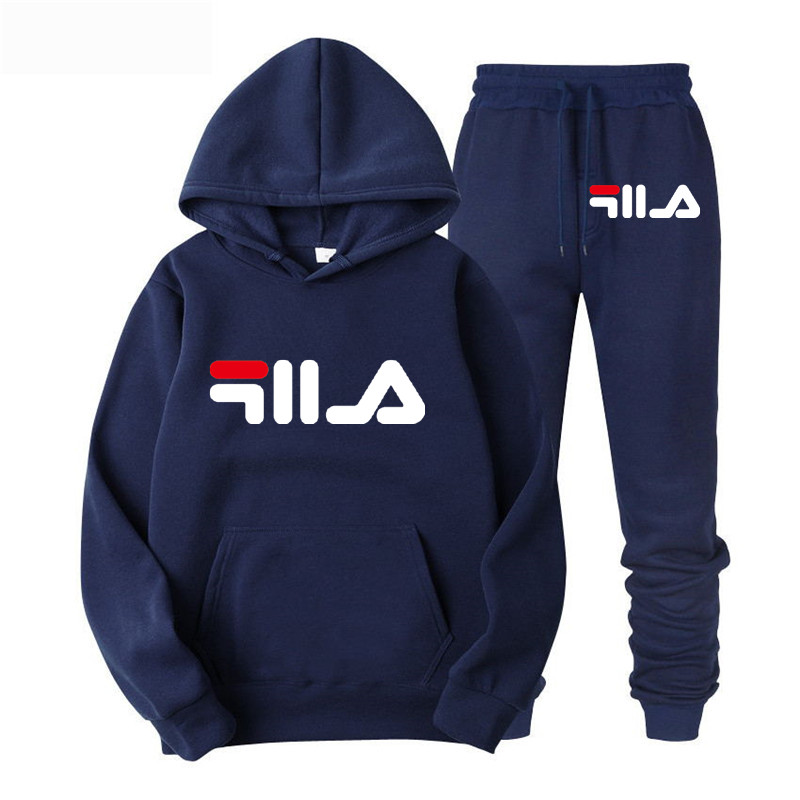 2019 New Two Pieces Set Fashion Hooded Sweatshirts Sportswear Men Tracksuit Hoodie Autumn Brand Clothes Hoodies+Pants Men Sets