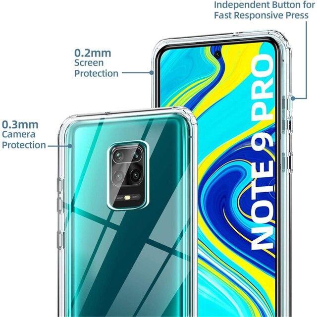 360 Degree Phone Case For Xiaomi Redmi Note 10 9S 9 Pro Max 5G 9A 9C 8 8 8A 8T 9T 7A 5A 5 Plus 6A 6 7 Full Body 2IN1Clear Cover 2