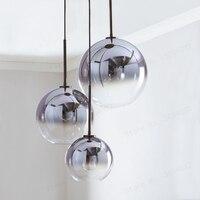 BDBQBL Modern Glass Ball LED Pendant Light Silver Gold Gradient Hanging Lamp Kitchen Fixture Dining Living Bar Loft Hotel