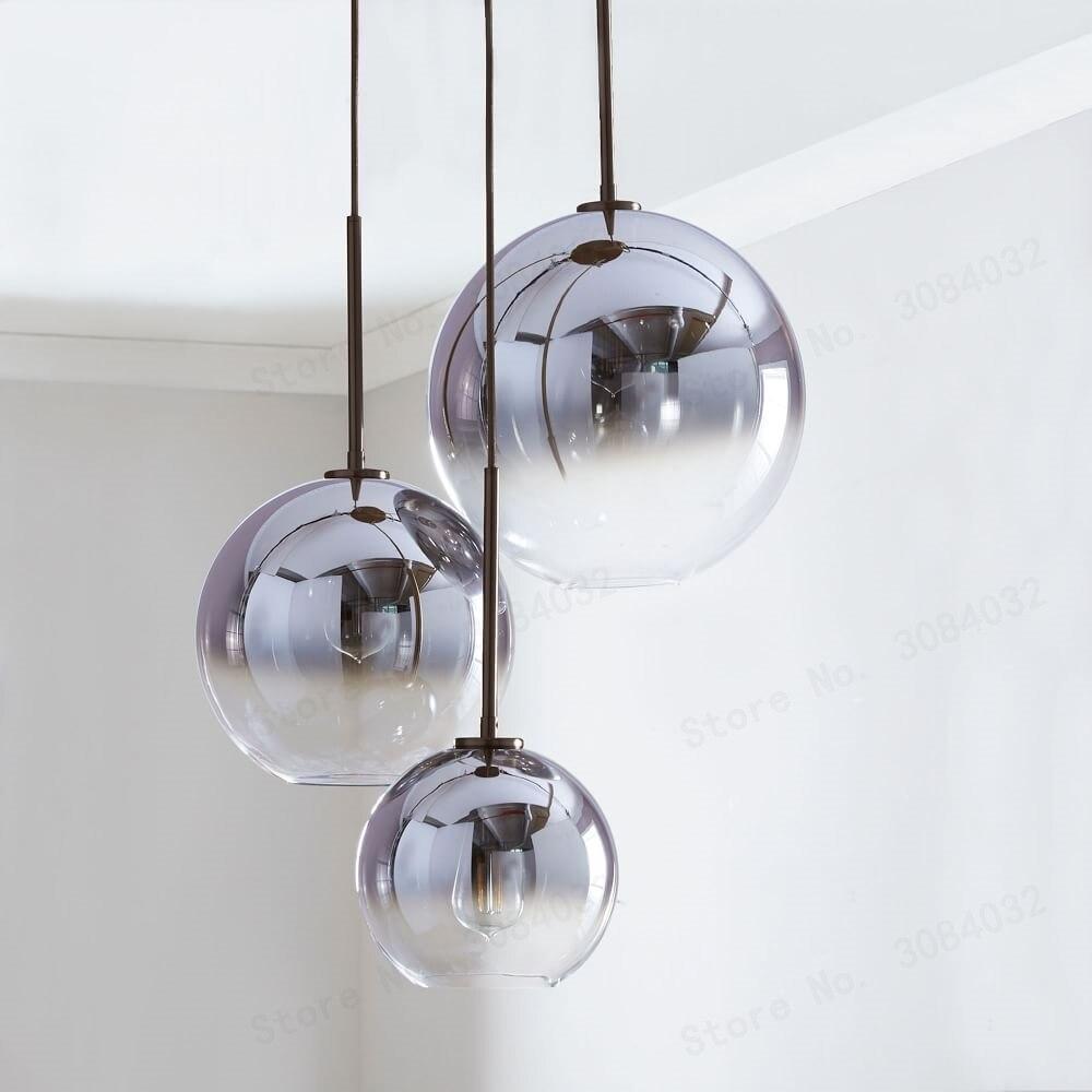 BDBQBL moderne boule de verre pendentif LED lumière argent or dégradé suspension lampe cuisine luminaire salle à manger salon Bar Loft hôtel