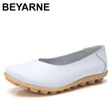 BEYARNE 2019 jesień nowe wygodne buty grochowe buty dla kobiet w ciąży duże rozmiary buty dla matek codzienne płaskie buty womenL078 tanie tanio Mieszkanie platformy Prawdziwej skóry Skóra bydlęca Szycia RUBBER Dla dorosłych Lato Okrągły nosek Slip-on Pasuje prawda na wymiar weź swój normalny rozmiar