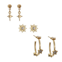 3Pairs/Set Unique Design Bohemian Stud Earrings Set For Women Punk Gold Color Crystal Star Sets  Jewelry