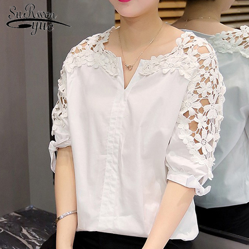 White Plus Size Women Blouses Shirts Fashion 2018 Floral Hollow Out Short Sleeve Women's Clothing V-neck Tops Blusas 5XL 823A 30