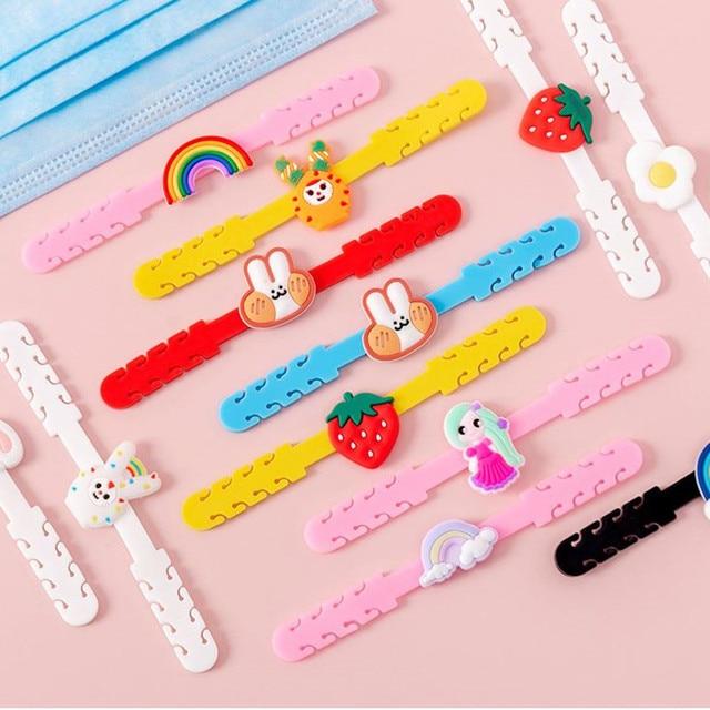 10pcs Cartoon Face Mask Ear Hooks Adjustable Anti-slip Ear Protection Mask Ear Grips Extension Hook Masks Buckle Holder for Kids