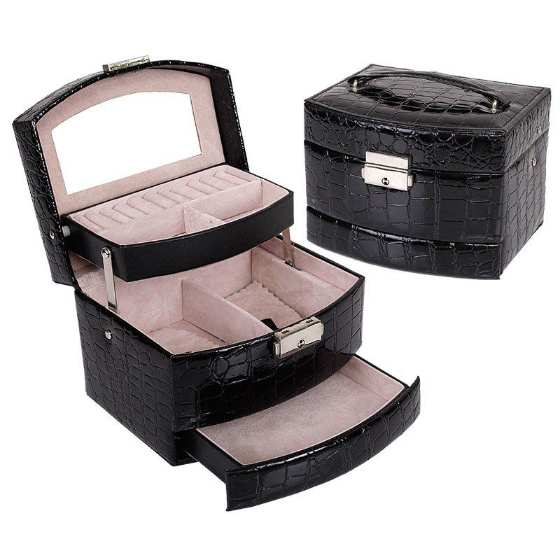 Hot Sale Automatic Leather Jewelry Box Three layer Storage Box For Women Earring Ring Cosmetic Organizer Casket For Decorations|Holy Storage Boxes| |  - title=