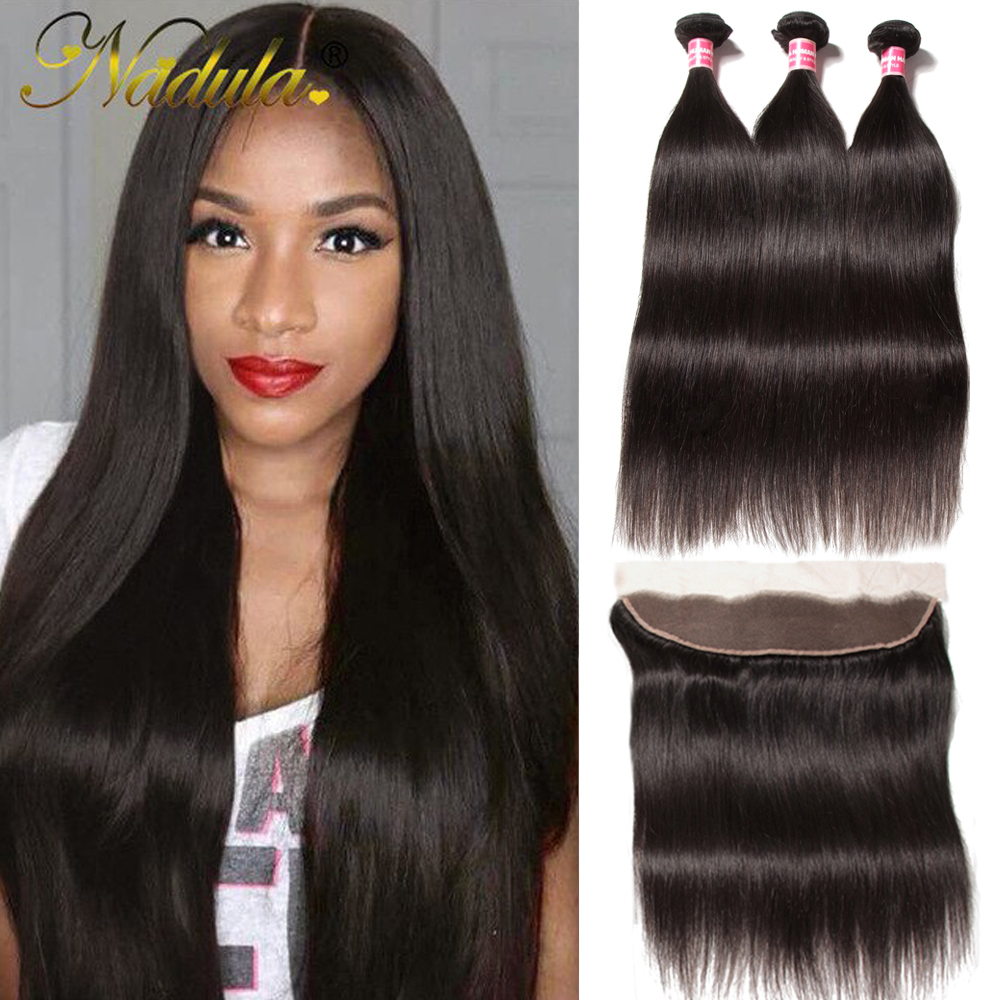 Nadula Hair 3 Bundles Straight Hair With Lace Frontal Closure 100% Human Hair Weave Bundles With Frontal Natural Color Remy Hair