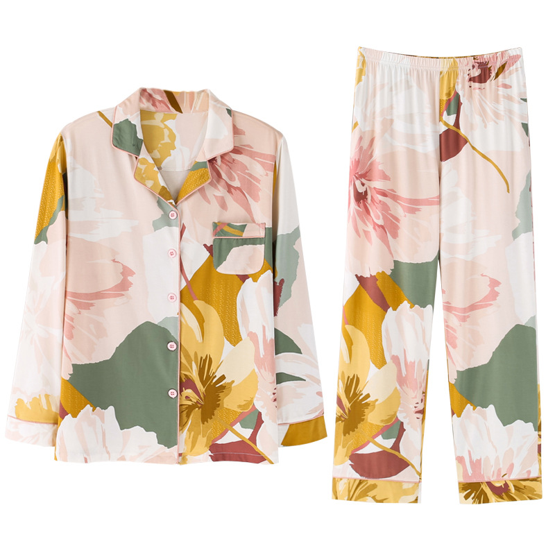Yellow Floral Printing Pajamas Set Women's Spring and Autumn Cotton Long-Sleeved Thin Loose and Plus-sized Two Piece Home Suit