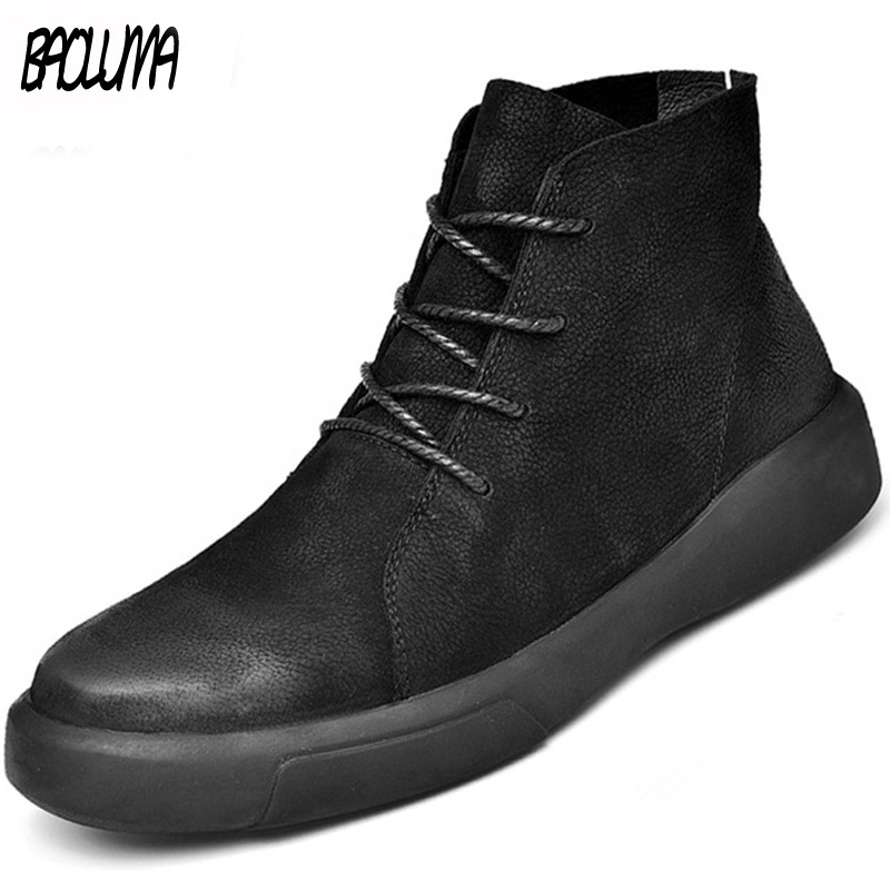 Man Shoes Motorcycle-Boots Autumn Outdoor Winter Genuine-Leather Brand Warm Plush Ankle