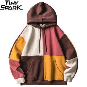Image 1 - Hip Hop Hoodies Sweatshirt 2019 Streetwear Farbe Block Patchwork Hoodie Pullover Harajuku Männer Herbst Winter Fleece Hoodie Baumwolle