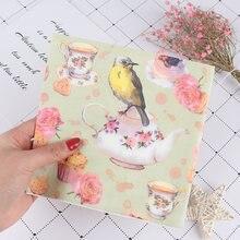 20 штук вышивка с цветами и птицами салфетка для декупажа Бумага