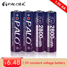 100% new 1.5v AA rechargeable battery 2800mwh li-ion lithium ion AA 2A batteries for toys camera flashlight