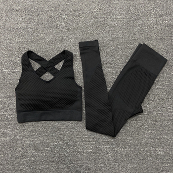 2/3PCS Seamless Women Yoga Set Workout Sportswear Gym Clothing Fitness Long Sleeve Crop Top High Waist Leggings Sports Suits 35