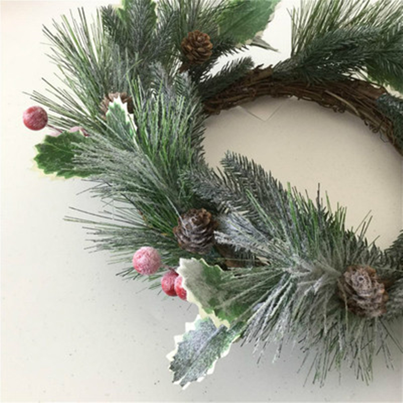 Pine Needles Decor Pinecone Simulation Cedar Christmas Wreath Berry Ring Wall Hanging Frost Indoor Decorations