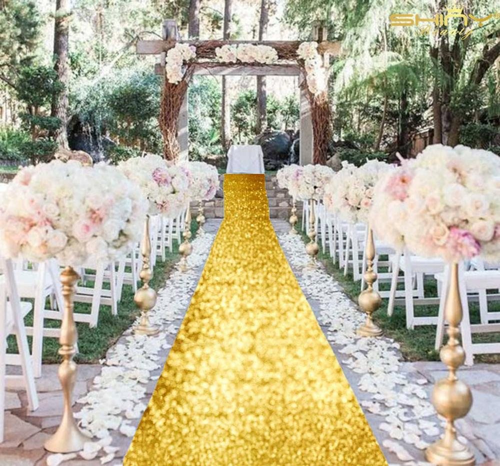Aisle Runners 2FTx10FT Shiny Gold Party Carpet Runners Glitter Aisle Carpets For Wedding-M1024