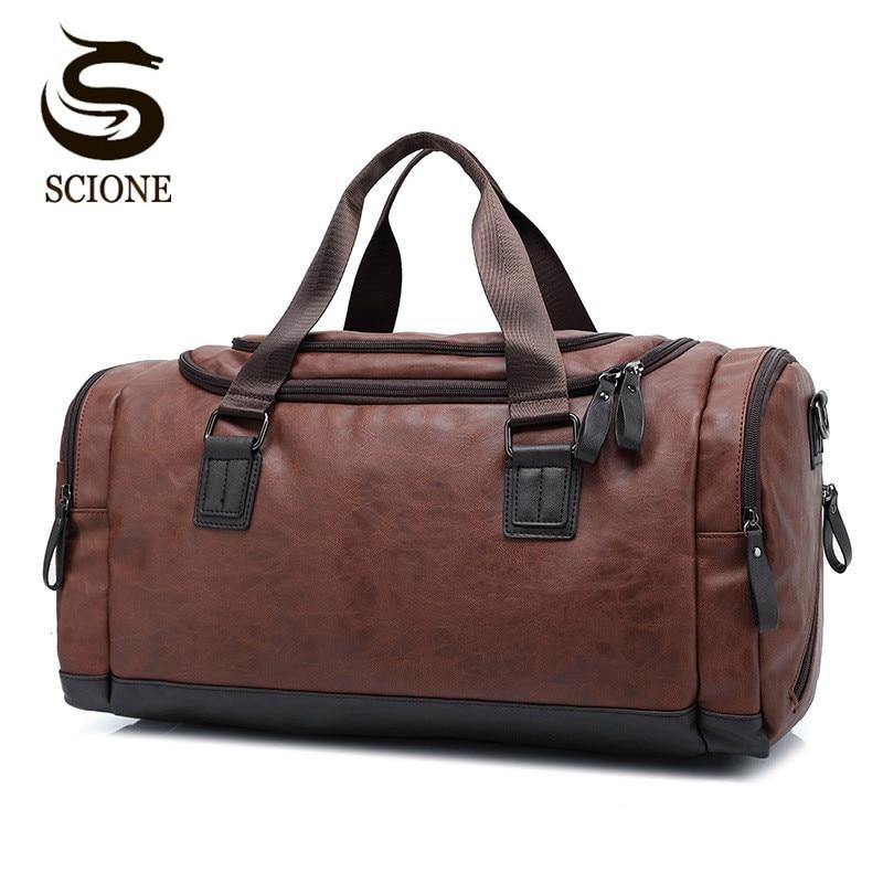 Genuine Brown Soft Leather Men/'s HandBags Travel Tote Duffle Gym Shoulder Bag