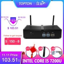 Topton Günstigste Mini PC Intel i5 7267U Pentium 4415U Fanless Desktop Windows 10 Pro Linux 4K HTPC VGA HDMI wiFi Office Home Pc