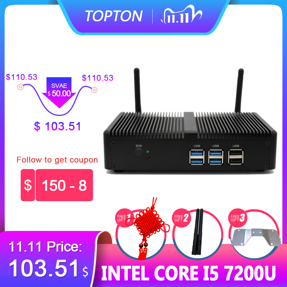 Topton en ucuz Mini PC Intel i5 7267U Pentium 4415U fansız masaüstü Windows 10 Pro Linux 4K HTPC VGA HDMI wiFi ofis ev Pc