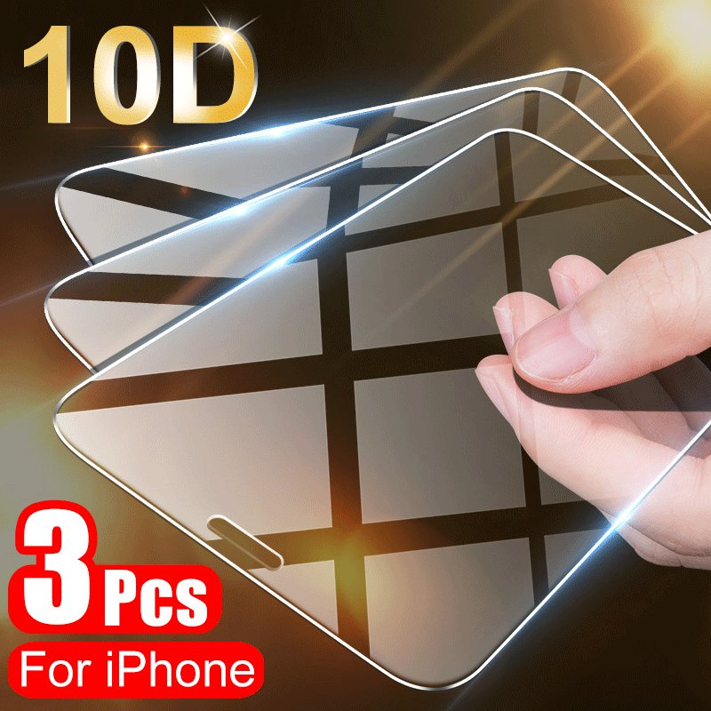 3PCS Full Cover Protective Glass On For iPhone 11 Pro X XR XS Max Screen Protector On iPhone 7 8 6 6s Plus 5 5s SE 11 Glass Film